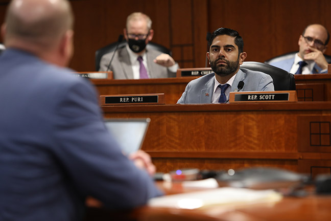 State Rep. Ranjeev Puri (D-Canton) listened to testimony about recent power outages during an oversight hearing in the House Energy Committee on Wednesday, October 20, 2021.