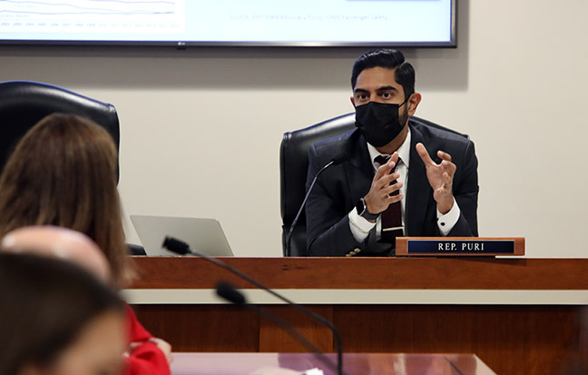State Rep. Ranjeev Puri (D-Canton) in the House Transportation Committee on October 26, 2021.